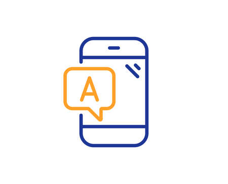 Ab testing line icon. Ui phone test sign. Colorful outline concept. Blue and orange thin line color Ab testing icon. Vector
