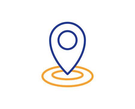 Locatie lijn icoon. Kaart aanwijzer teken. Kleurrijk overzichtsconcept. Blauw en oranje dunne lijn kleur icoon. Locatie Vector
