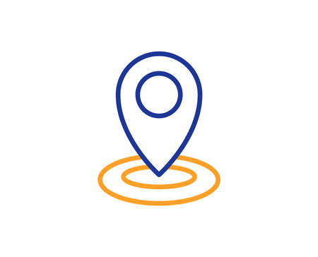 Location line icon. Map pointer sign. Colorful outline concept. Blue and orange thin line color icon. Location Vector Illustration
