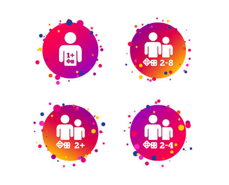 Gamer icons. Board games players sign symbols. Gradient circle buttons with icons. Random dots design. Vector Foto de archivo - 112872833