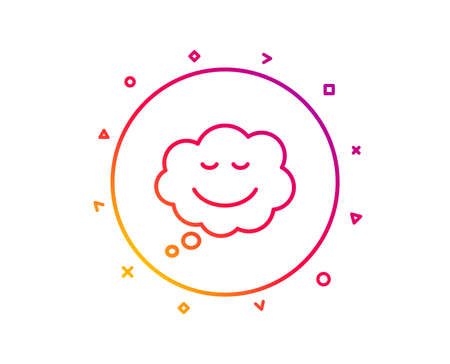 Comic speech bubble with Smile line icon. Chat emotion sign. Gradient pattern line button. Speech bubble icon design. Geometric shapes. Vector