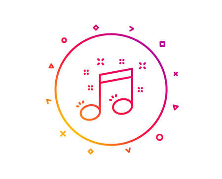 Musical note line icon. Music sign. Gradient pattern line button. Musical note icon design. Geometric shapes. Vector
