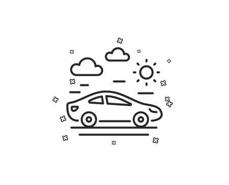 Car travel line icon. Trip transport sign. Holidays vehicle symbol. Geometric shapes. Random cross elements. Linear Car travel icon design. Vector Ilustracja