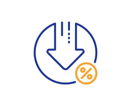 Loan percent decrease line icon. Discount sign. Credit percentage symbol. Colorful outline concept. Blue and orange thin line color Loan percent icon. Vector