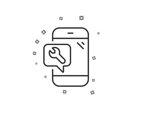 Spanner tool line icon. Phone repair service sign. Fix instruments symbol. Geometric shapes. Random cross elements. Linear Phone repair icon design. Vector Illustration