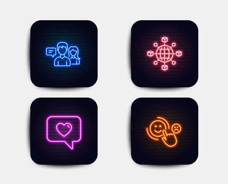 Neon glow lights. Set of Logistics network, People talking and Love message icons. Customer satisfaction sign. International tracking, Contact service, Dating service. Happy smile.  Neon icons