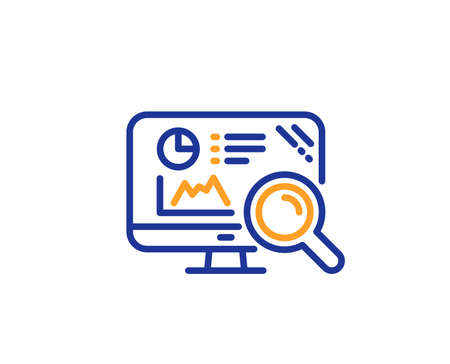 Seo statistics line icon. Search engine sign. Analytics chart symbol. Colorful outline concept. Blue and orange thin line color Seo analytics icon. Vector Иллюстрация