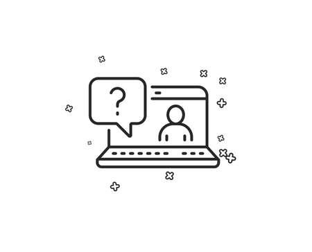 Question mark line icon. Online faq support sign. Geometric shapes. Random cross elements. Linear Faq icon design. Vector