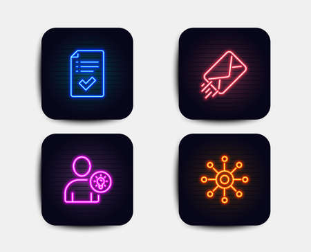 Neon set of User idea, E-mail and Approved checklist icons. Multichannel sign. Light bulb, Mail delivery, Accepted message. Multitasking. Neon icons. Glowing light banners. Vector