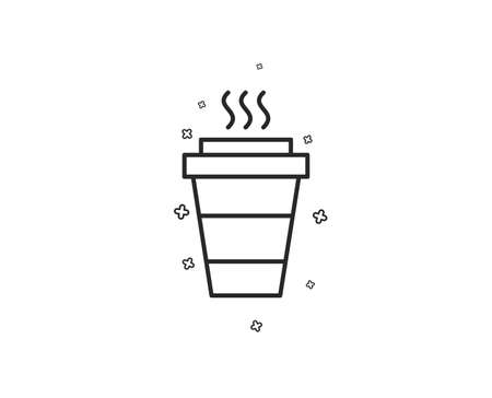 Takeaway Coffee cup line icon. Hot drink sign. Takeout symbol. Geometric shapes. Random cross elements. Linear Takeaway icon design. Vector