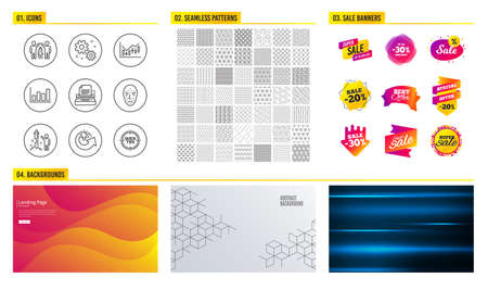 Seamless pattern. Shopping sale banners. Set of Typewriter, Work and Face biometrics icons. Financial diagram, Fireworks and Report diagram signs. Partnership, Share idea and Tips symbols. Vector