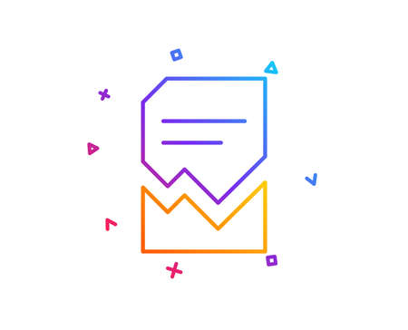 Corrupted Document line icon. Bad File sign. Paper page concept symbol. Gradient line button. Corrupted file icon design. Colorful geometric shapes. Vector
