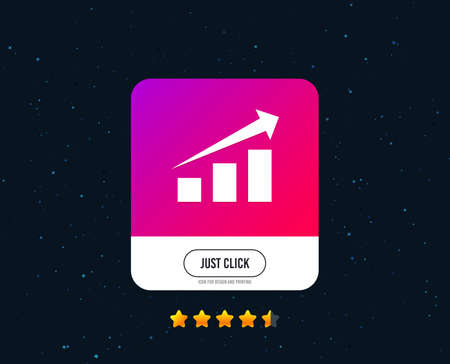 Chart with arrow sign icon. Success diagram symbol. Statistics. Web or internet icon design. Rating stars. Just click button. Vector