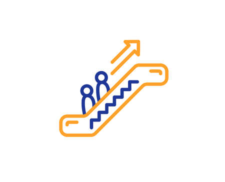 Escalator line icon. Elevator sign. Shopping stairway symbol. Colorful outline concept. Blue and orange thin line color icon. Escalator Vector