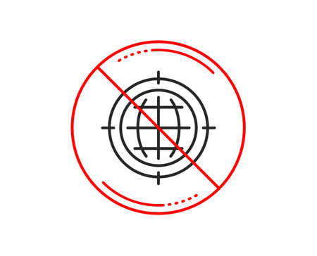 No or stop sign. Seo target line icon. Search engine optimization sign. Internet symbol. Caution prohibited ban stop symbol. No  icon design.  Vector