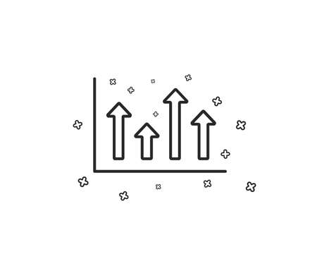 Growth chart line icon. Financial graph sign. Upper Arrows symbol. Business investment. Geometric shapes. Random cross elements. Linear Upper arrows icon design. Vector