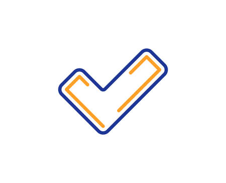 Check line icon. Approved Tick sign. Confirm, Done or Accept symbol. Colorful outline concept. Blue and orange thin line color icon. Tick Vector Ilustração