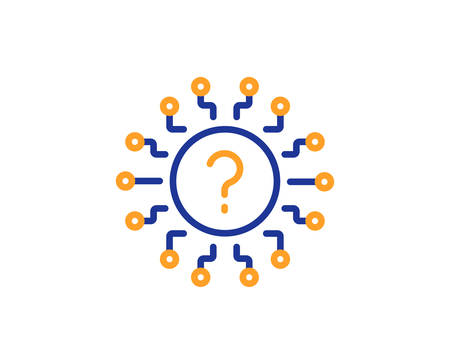 Question mark line icon. Quiz chat bubble sign. Faq system. Colorful outline concept. Blue and orange thin line color Question mark icon. Vector