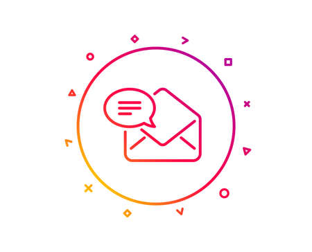 New Mail line icon. Message correspondence sign. E-mail symbol. Gradient pattern line button. New Mail icon design. Geometric shapes. Vector Illustration