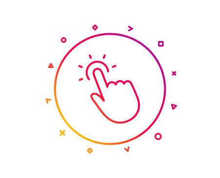 Touchpoint line icon. Click here sign. Touch technology symbol. Gradient pattern line button. Touchpoint icon design. Geometric shapes. Vector
