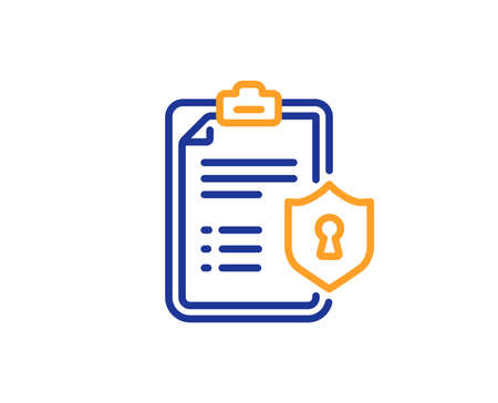 Checklist line icon. Privacy policy document sign. Colorful outline concept. Blue and orange thin line color Privacy policy icon. Vector
