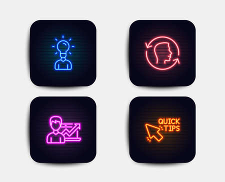 Neon set of Success business, Education and Face id icons. Quick tips sign. Growth chart, Human idea, Identification system. Helpful tricks. Neon icons. Glowing light banners. Vector