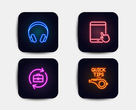 Neon set of Headphones, Human resources and Tablet pc icons. Tutorials sign. Music listening device, Job recruitment, Touchscreen gadget. Quick tips. Neon icons. Glowing light banners