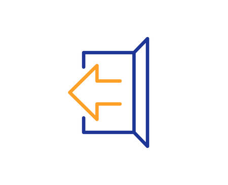 Logout arrow line icon. Sign out symbol. Navigation pointer. Colorful outline concept. Blue and orange thin line color icon. Sign out Vector