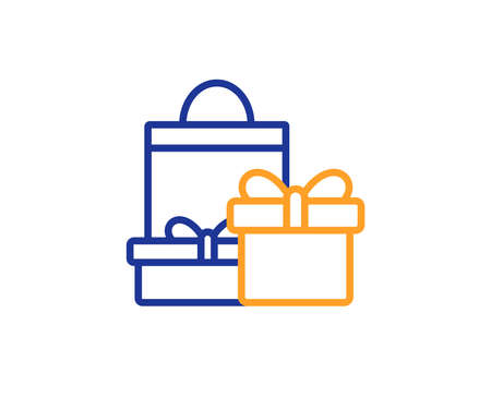 Gift boxes with bag line icon. Present or Sale sign. Birthday Shopping symbol. Package in Gift Wrap. Colorful outline concept. Blue and orange thin line color icon. Shopping Vector