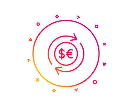 Money exchange line icon. Banking currency sign. Euro and Dollar Cash transfer symbol. Gradient pattern line button. Money currency icon design. Geometric shapes. Vector