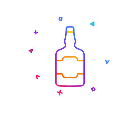 Whiskey bottle line icon. Scotch alcohol sign. Gradient line button. Whiskey bottle icon design. Colorful geometric shapes. Vector 일러스트