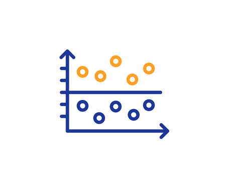Dot plot graph line icon. Presentation chart sign. Market analytics symbol. Colorful outline concept. Blue and orange thin line color Dot plot icon. Vector