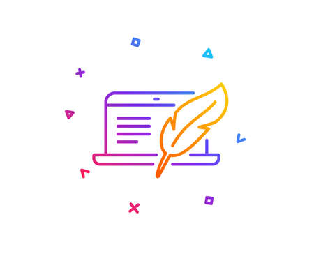 Copywriting notebook line icon. Сopyright feather sign. Media content symbol. Gradient line button. Copyright laptop icon design. Colorful geometric shapes. Vector