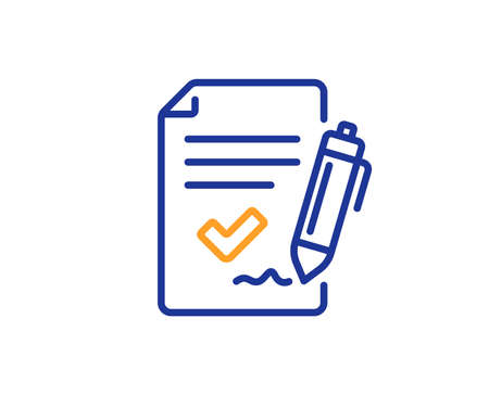 Approved agreement line icon. Sign document. Accepted or confirmed symbol. Colorful outline concept. Blue and orange thin line color icon. Approved agreement Vector