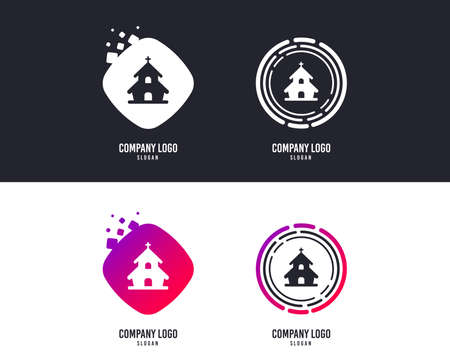 Logotype concept. Church icon. Christian religion symbol. Chapel with cross on roof. Logo design. Colorful buttons with icons. Vector