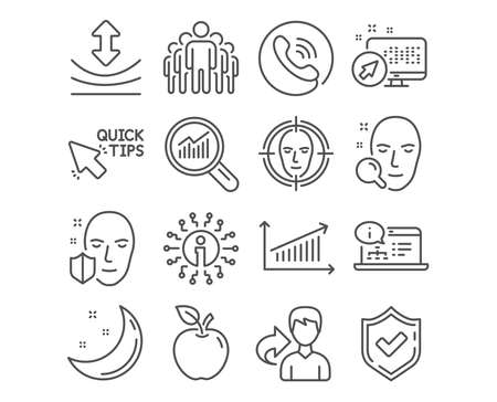 Set of Face search, Chart and Group icons. Quick tips, Resilience and Online documentation signs. Face detect, Data analysis symbols. Find user, Presentation chart, Managers. Vector