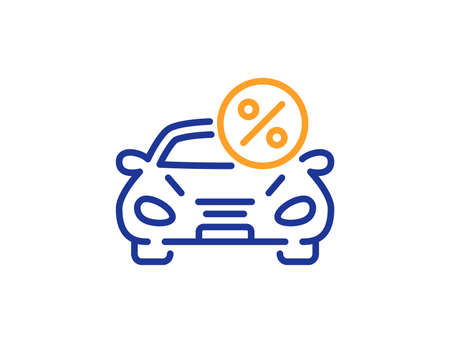 Car leasing percent line icon. Transport loan sign. Credit percentage symbol. Colorful outline concept. Blue and orange thin line color Car leasing icon. Vector