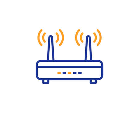 Wifi router line icon. Computer component sign. Internet symbol. Colorful outline concept. Blue and orange thin line color Wifi icon. Vector