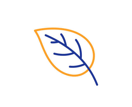 Leaf line icon. Nature plant sign. Environmental care symbol. Colorful outline concept. Blue and orange thin line color Leaf icon. Vector