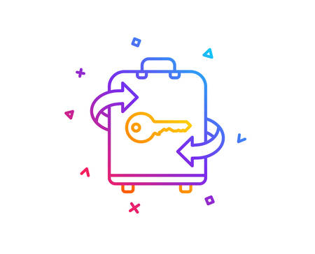 Luggage room line icon. Baggage Locker sign. Travel service symbol. Gradient line button. Luggage icon design. Colorful geometric shapes. Vector