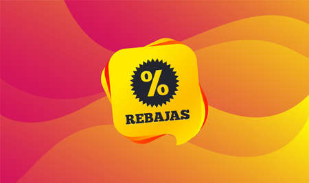 Rebajas - Discounts in Spain sign icon. Star with percentage symbol. Wave background. Abstract shopping banner. Template for design. Vector
