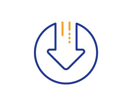 Download line icon. Down arrow sign. Discount symbol. Colorful outline concept. Blue and orange thin line color Download arrow icon. Vector Stock Illustratie