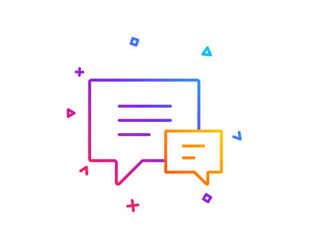Chat line icon. Speech bubble sign. Communication or Comment symbol. Gradient line button. Comment icon design. Colorful geometric shapes. Vector