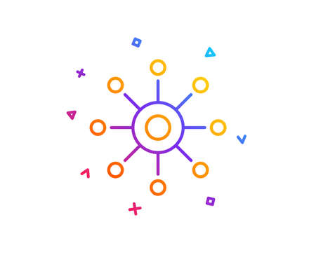 Multichannel line icon. Multitasking sign. Omnichannel symbol. Gradient line button. Multichannel icon design. Colorful geometric shapes. Vector