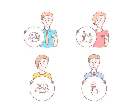 People set of Group, Women group and Launch project icons. Swipe up sign. Lady service, Business innovation, Touch technology. Character hold circle button. Man with like hand  イラスト・ベクター素材