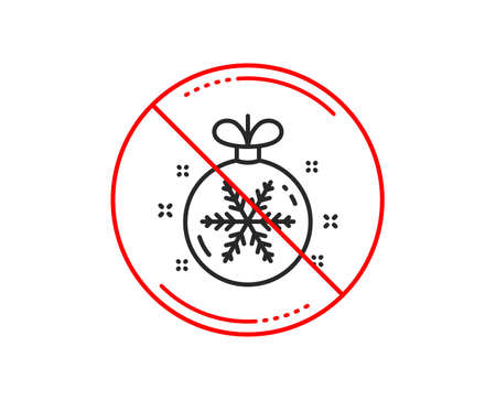 No or stop sign. Christmas ball with snowflake line icon. New year tree decoration sign. Caution prohibited ban stop symbol. No  icon design.  Vector 스톡 콘텐츠 - 112873038