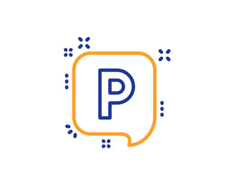 Parking line icon. Car park speech bubble sign. Transport place symbol. Colorful outline concept. Blue and orange thin line color icon. Parking Vector