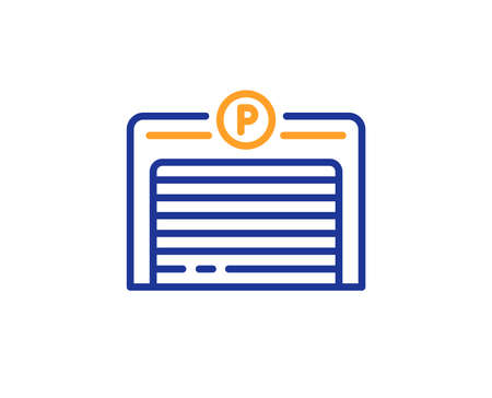 Parking garage line icon. Auto park sign. Car place symbol. Colorful outline concept. Blue and orange thin line color icon. Parking garage Vector