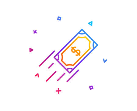 Fast payment line icon. Dollar exchange sign. Finance symbol. Gradient line button. Fast payment icon design. Colorful geometric shapes. Vector  イラスト・ベクター素材