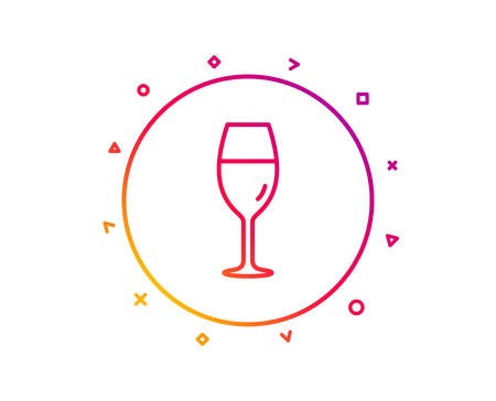 Wine glass line icon. Burgundy glass sign. Gradient pattern line button. Wineglass icon design. Geometric shapes. Vector